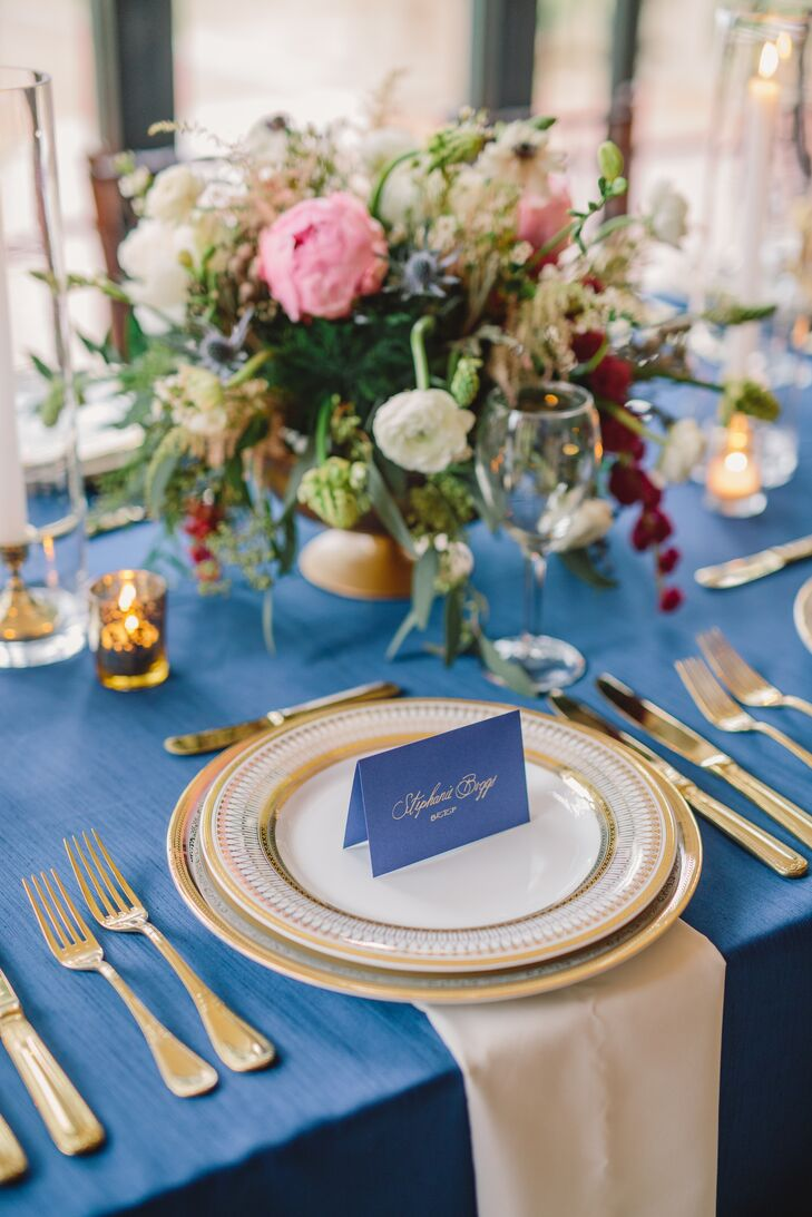 Ivory and Blue Accented Reception Decor