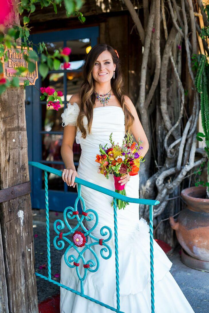 Bride in a Flamenco Style Wedding Dress