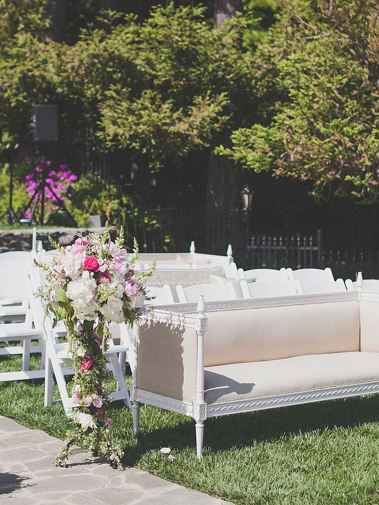Unique outdoor wedding ceremony seating idea