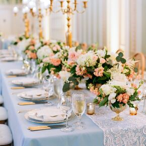 Elegant Candelabra Centerpieces And Lace Table Runners