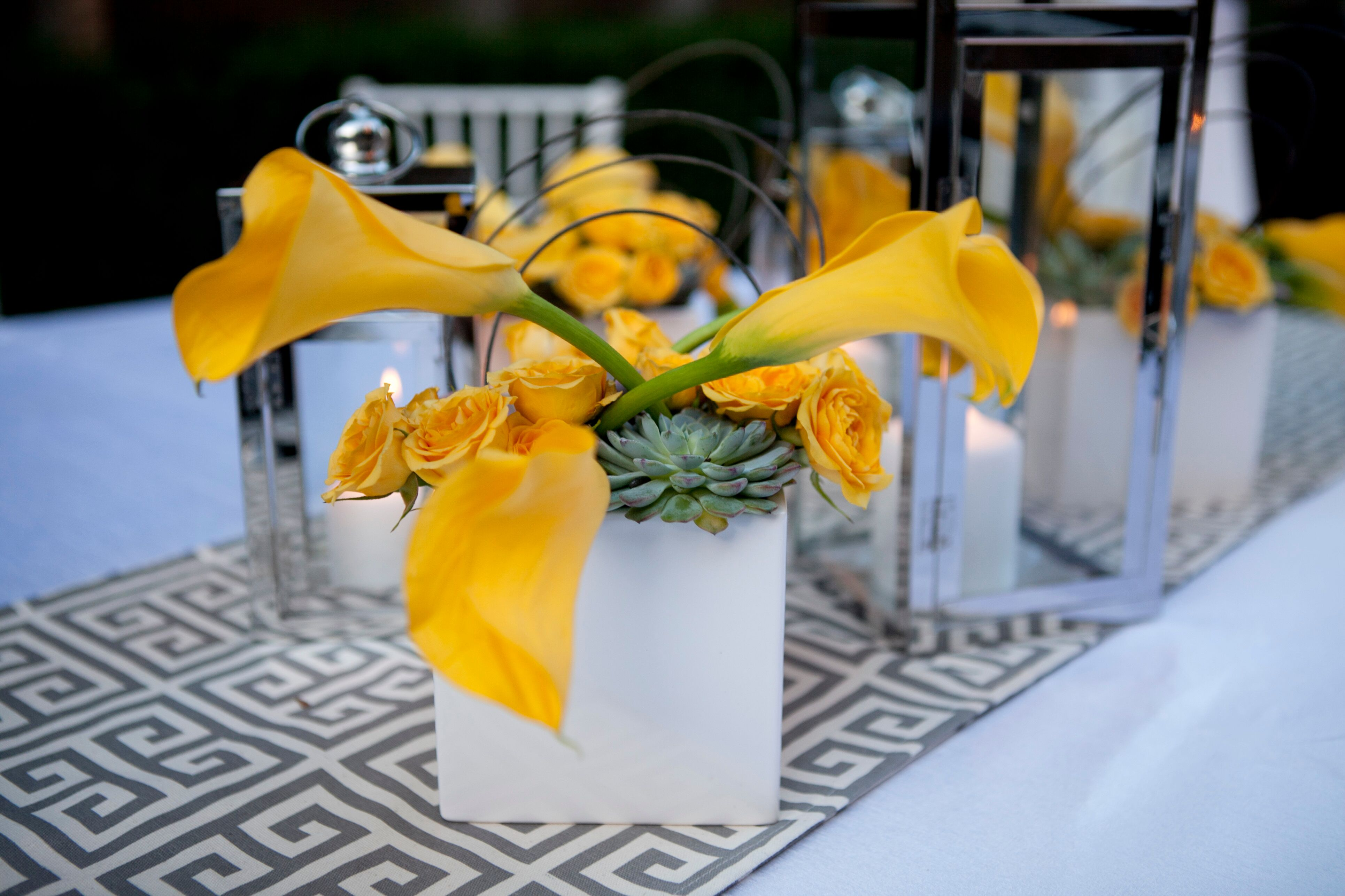 Calla Lily Rose And Succulent Centerpiece