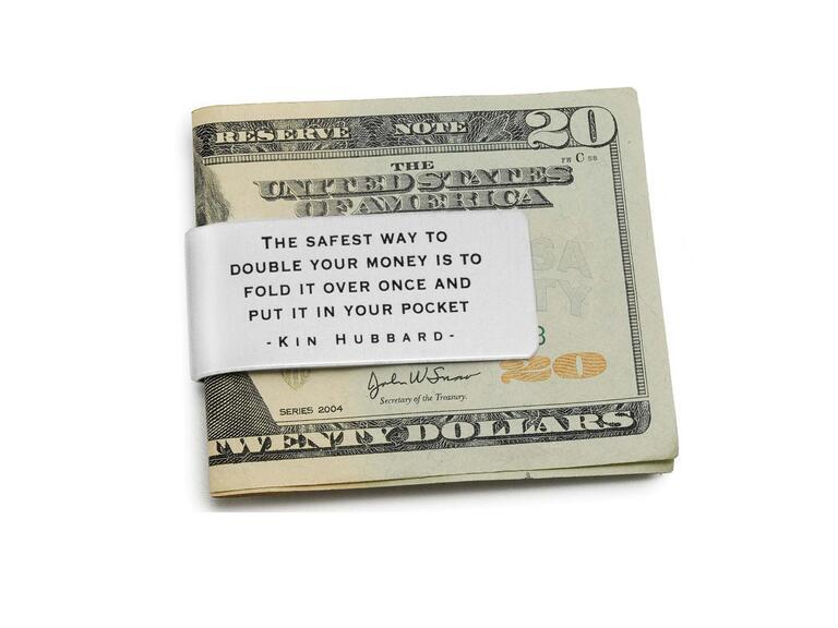 Silver groomsmen gift money clip