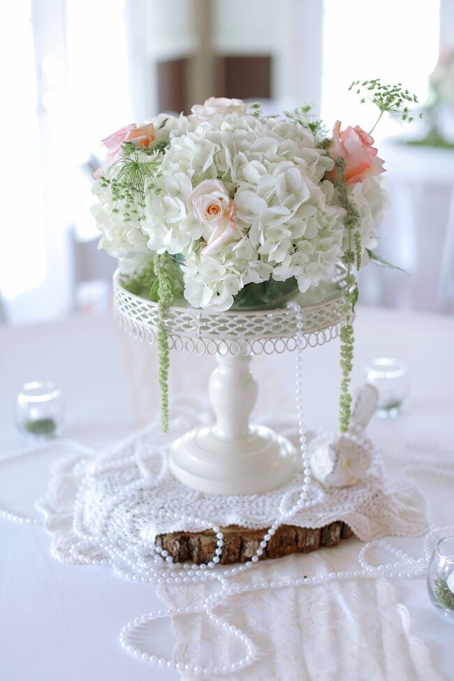 Vintage-Inspired Rose and Hydrangea Centerpiece With Pearls