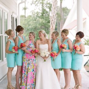 Short Vibrant Floral Bridesmaid Dresses