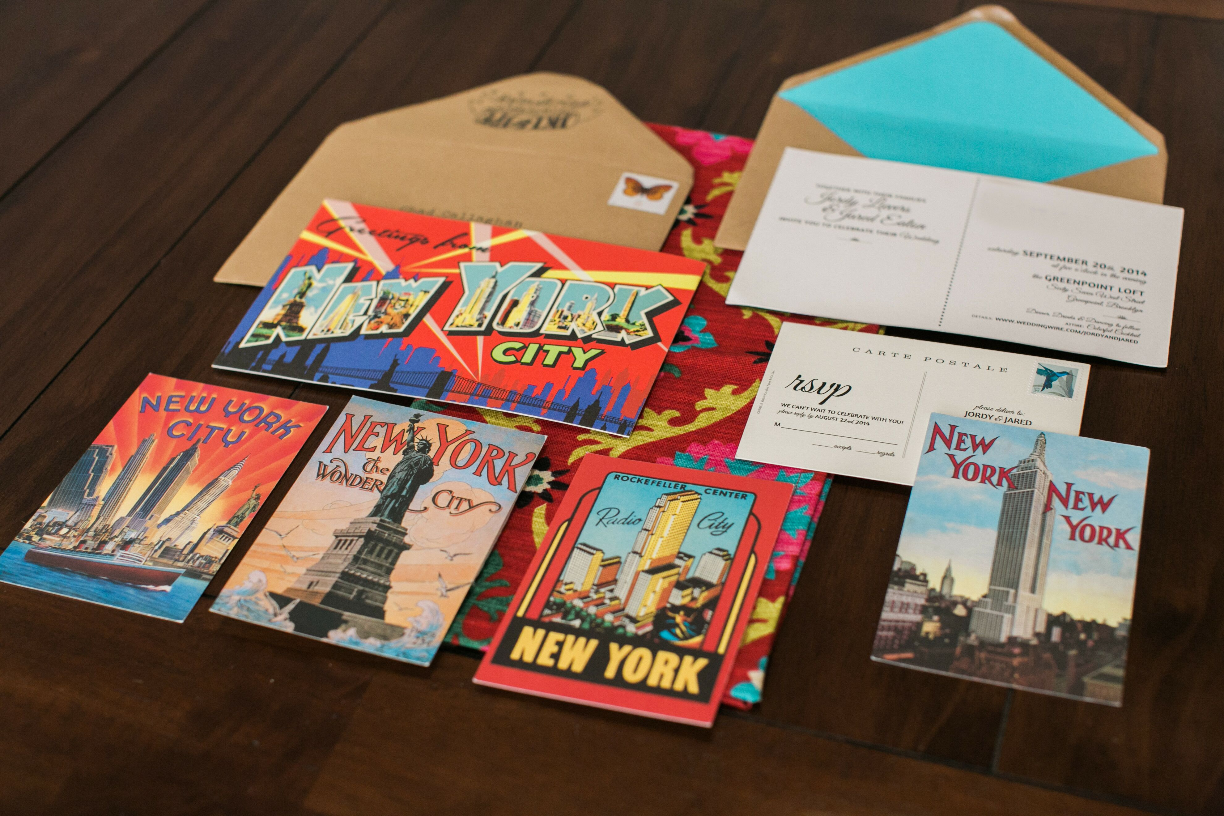 Vintage New York City Postcard Wedding Invitations