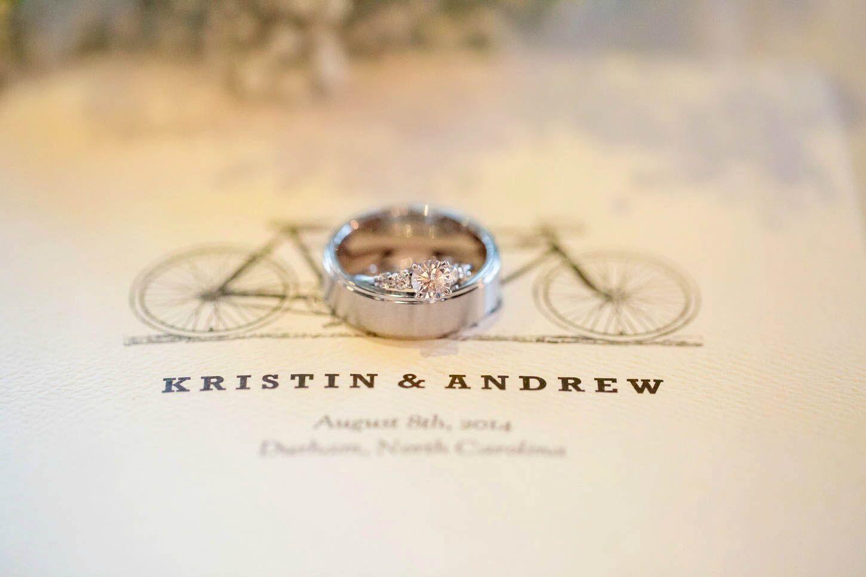 tandem bicycle wedding logo - Bohemian Wedding Rings