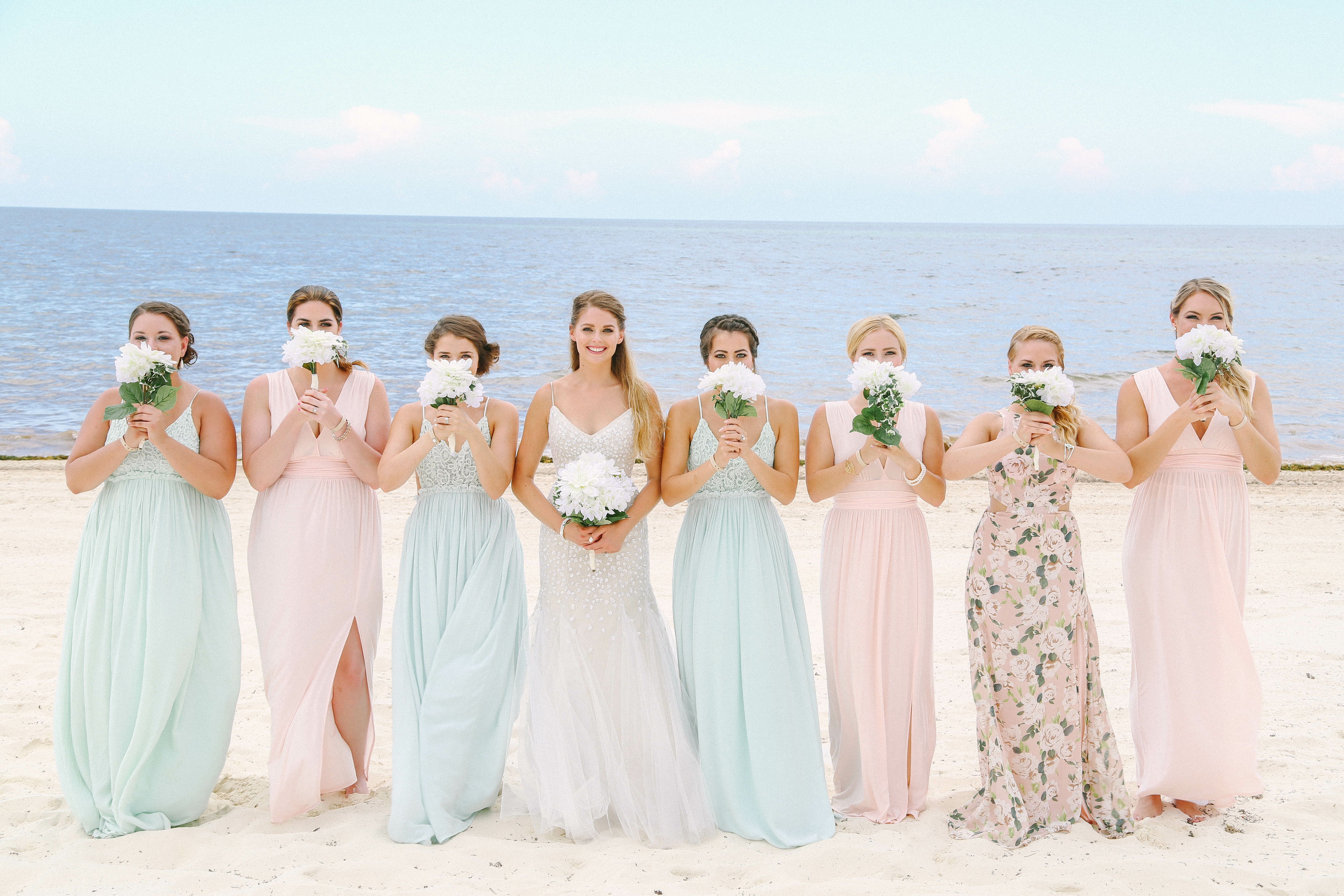 Blush and mint bridesmaid dresses for beach wedding for Bridesmaid dresses for beach wedding theme