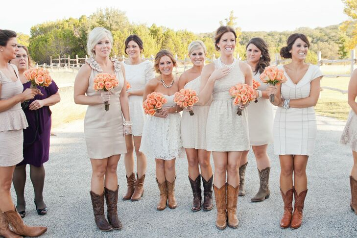 Bridesmaid Dresses with Cowboy Boots