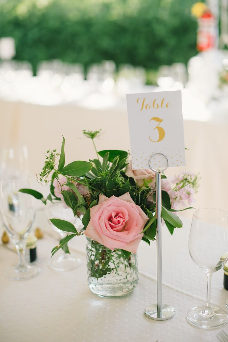 Gold Table Number With Polka Dots