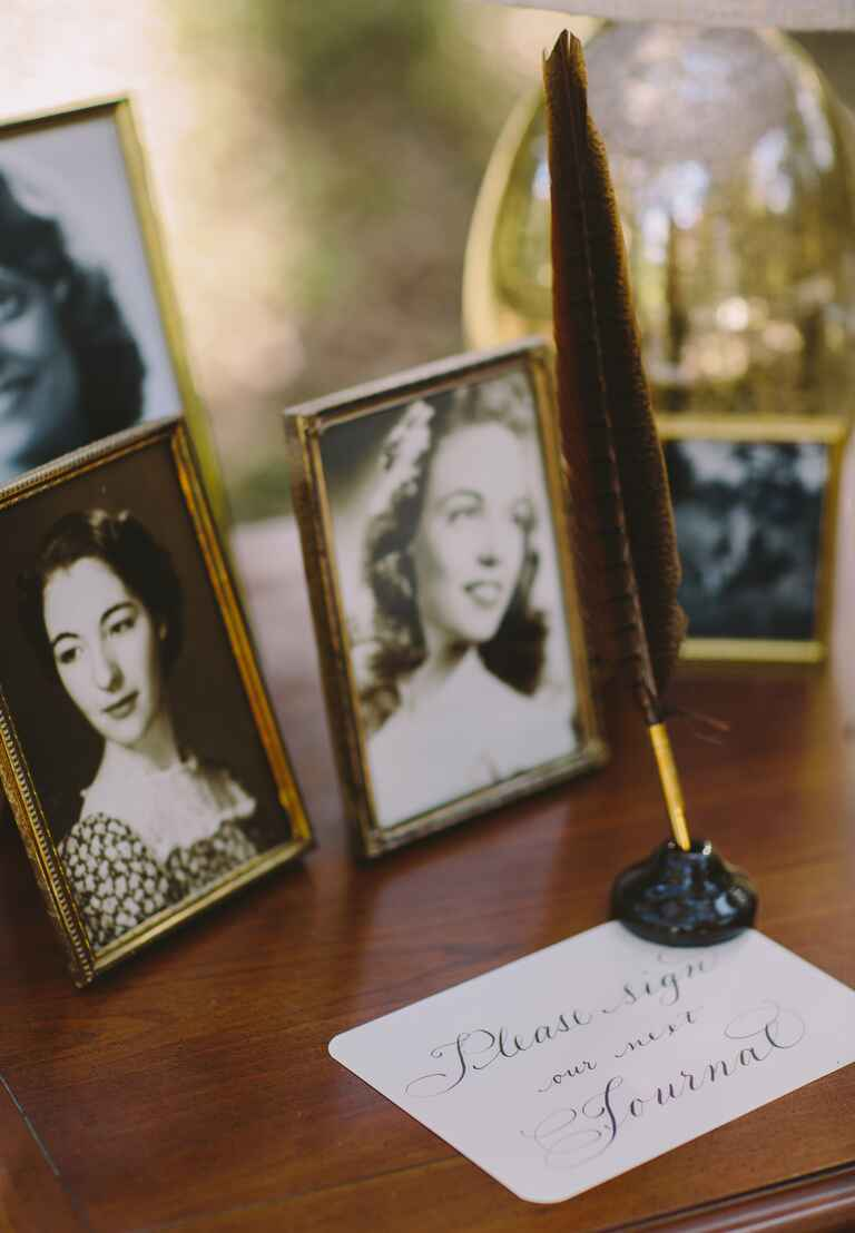 Displaying family photos at guest book table