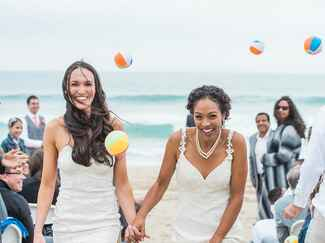 same-sex couple beach wedding