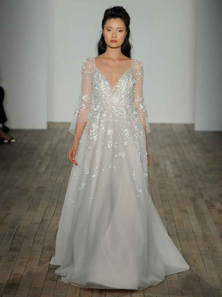 Hayley Paige Spring 2018 Guinevere A-line gown with floral detail and sheer butterfly sleeve