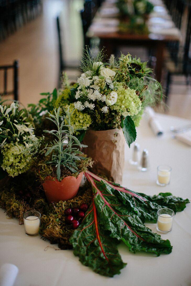 Green Chard And Wildflower Wedding Centerpieces