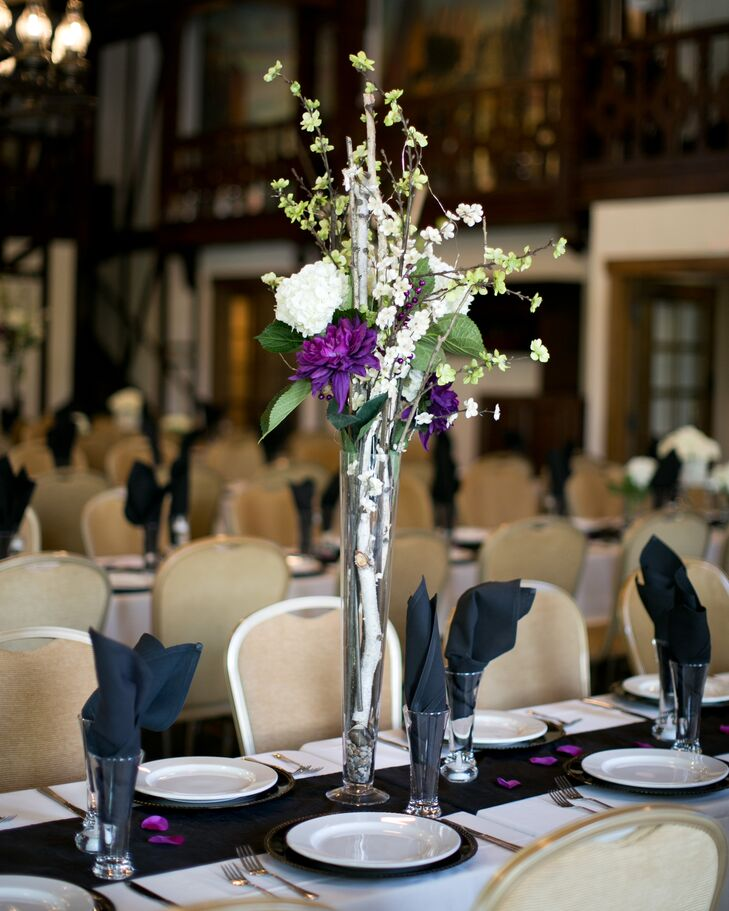 Ivory And Purple Tall Centerpiece Arrangements