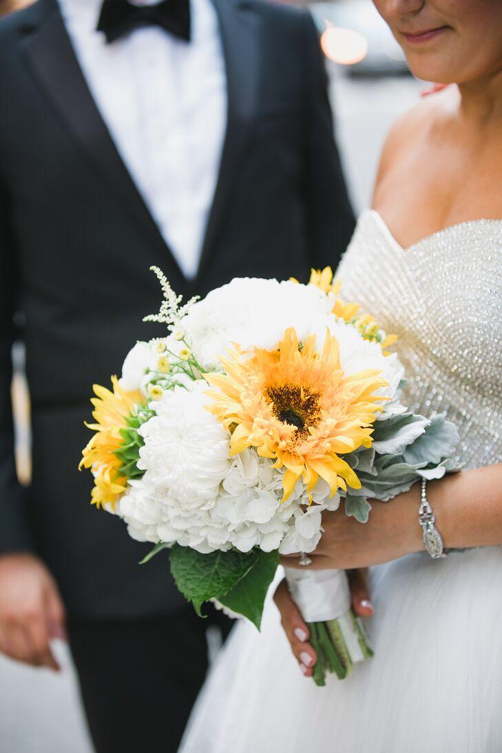 white hydrangea and sunflower bridal bouquet