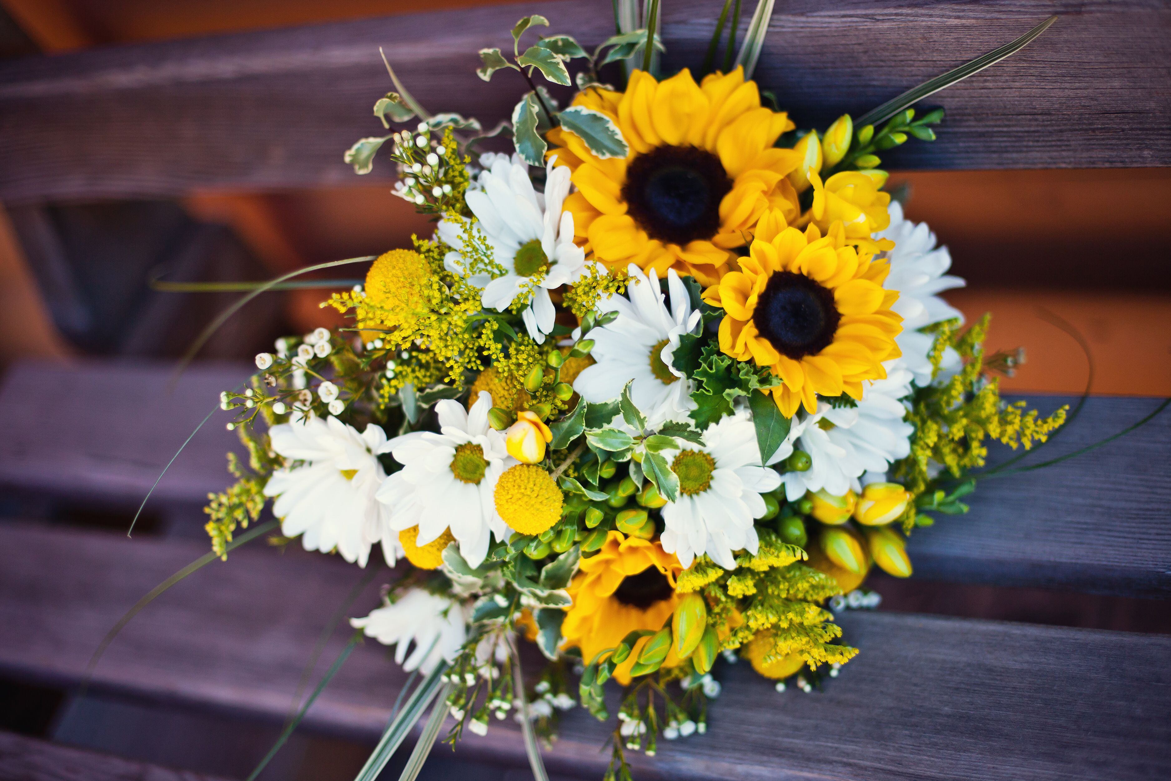 Sunflower And White Daisy Bridal Bouquet