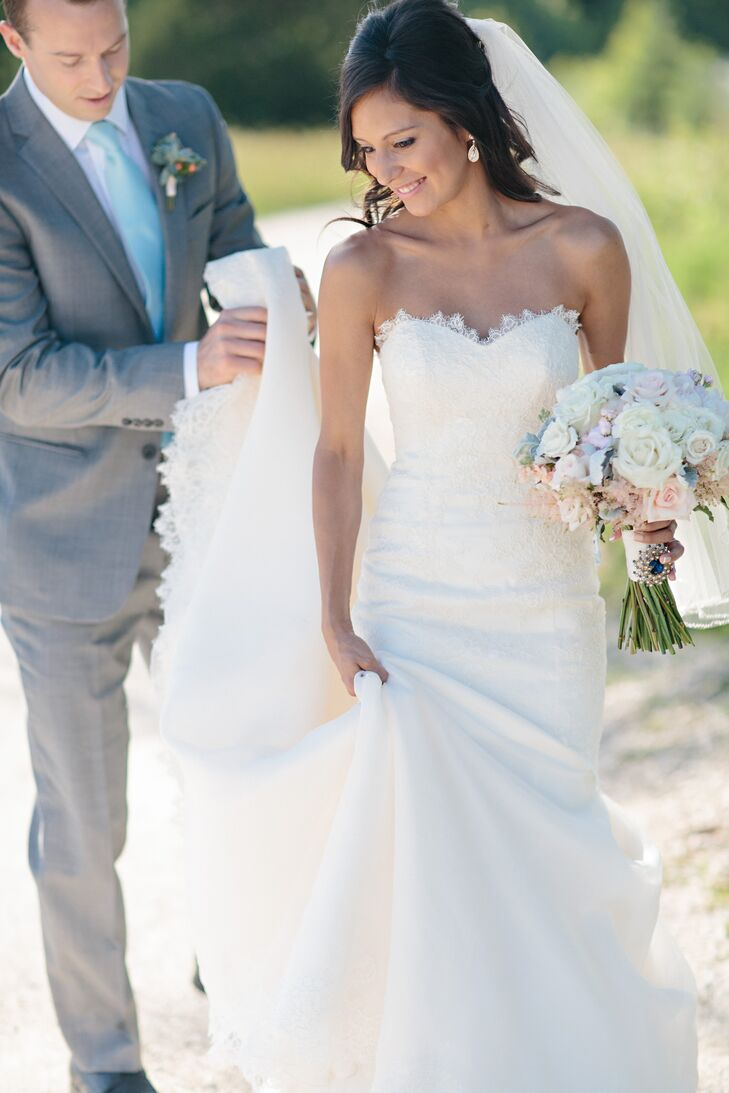 Andrea Wore A Strapless Mermaid Lace Wedding Dress For Her Day Being Five