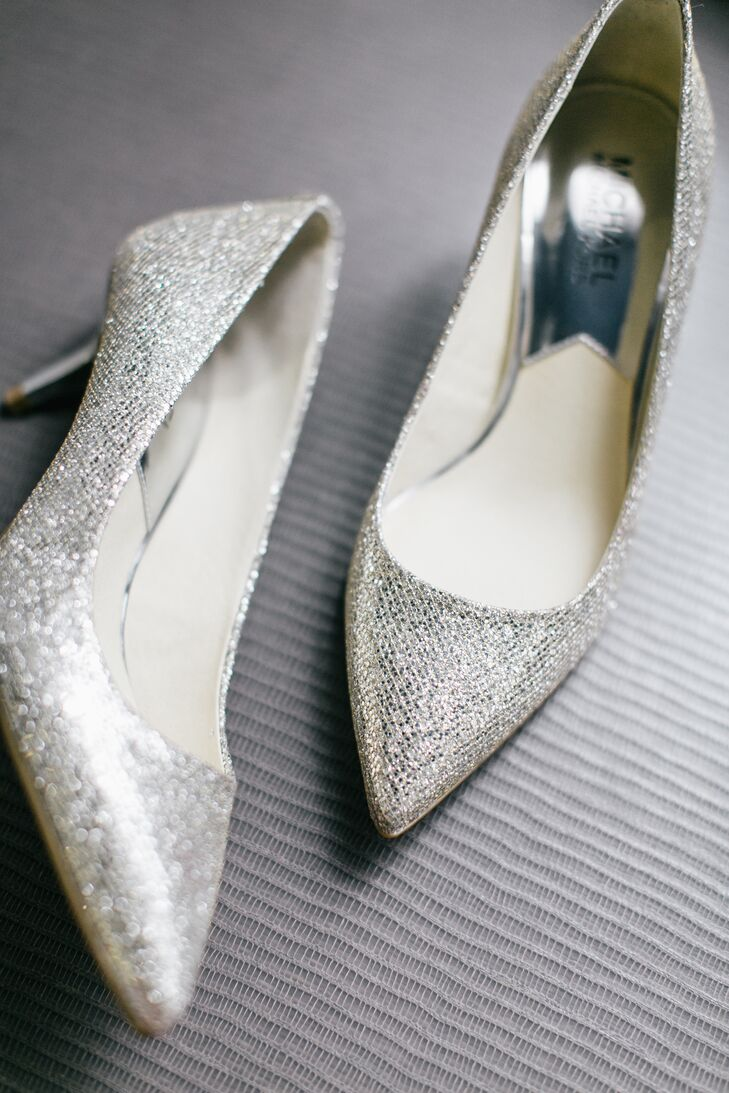 Jen wore sparkly silver Michael Kors heels on her wedding day.