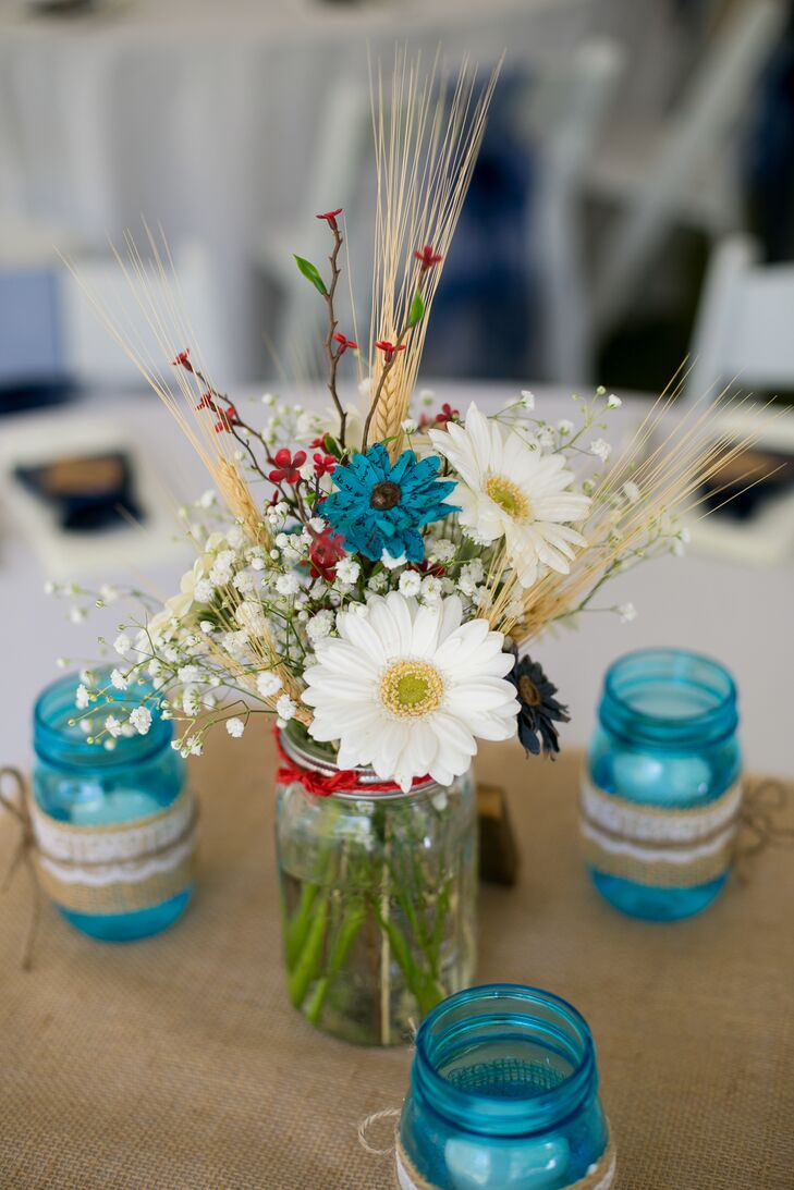 Rustic Gerbera Daisy And Paper Flower Centerpieces