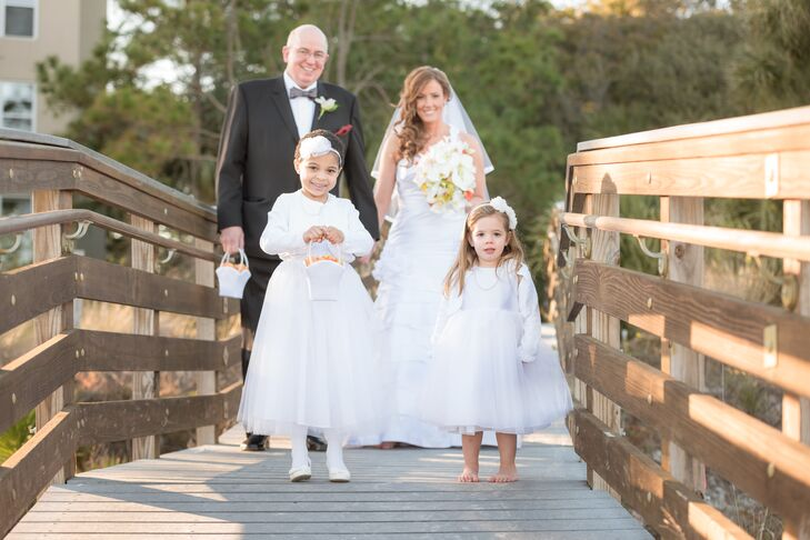 Flower Girls in White Tulle Dresses