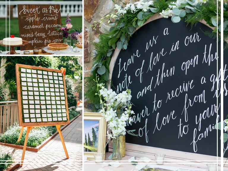 Beautiful calligraphy and customized wedding signage