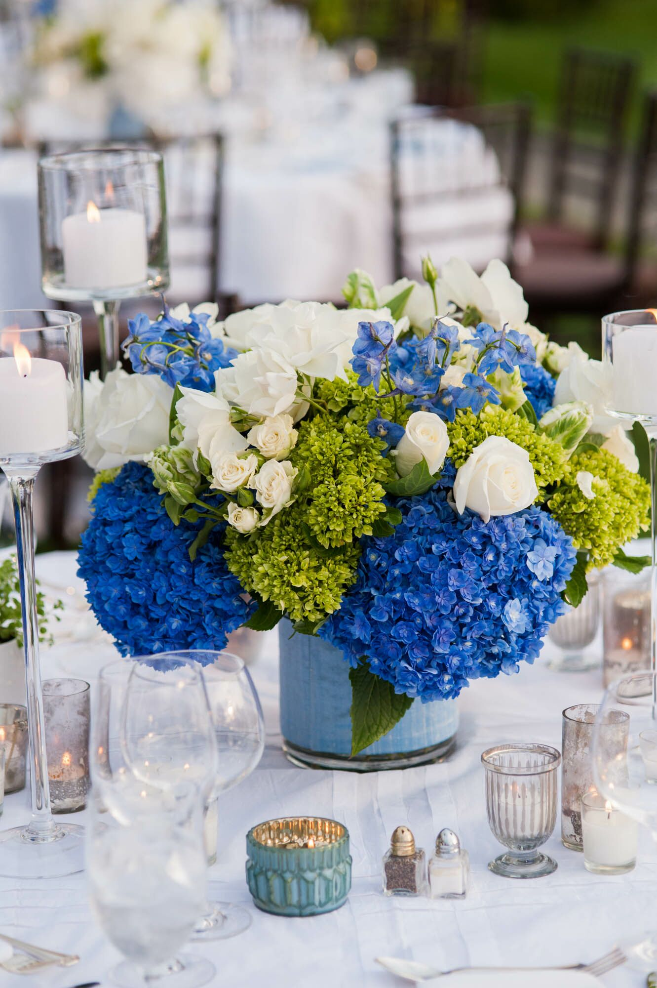 Brilliant Blue And Green Hydrangea Centerpieces