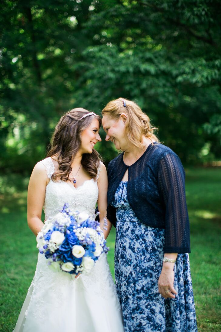 Blue Floral Mother of the Bride Dress