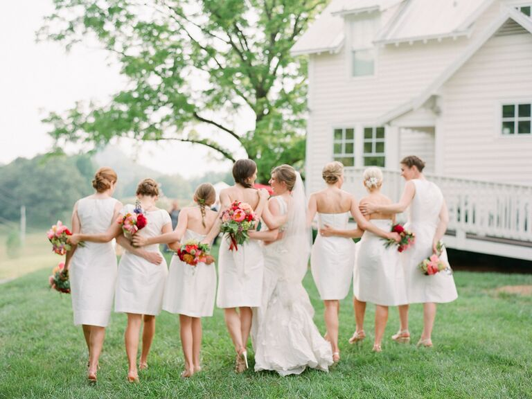 Bridesmaids and a bride
