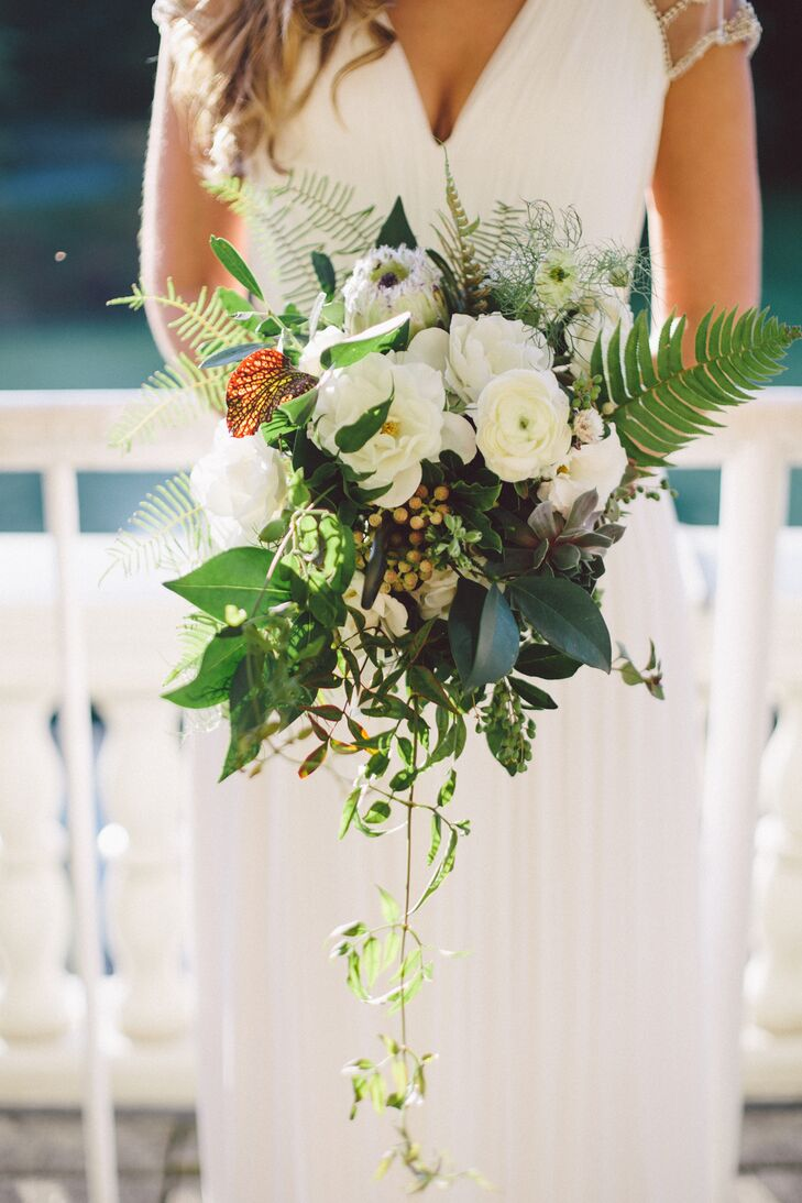 Asymmetrical White Bouquet With Lush Greens