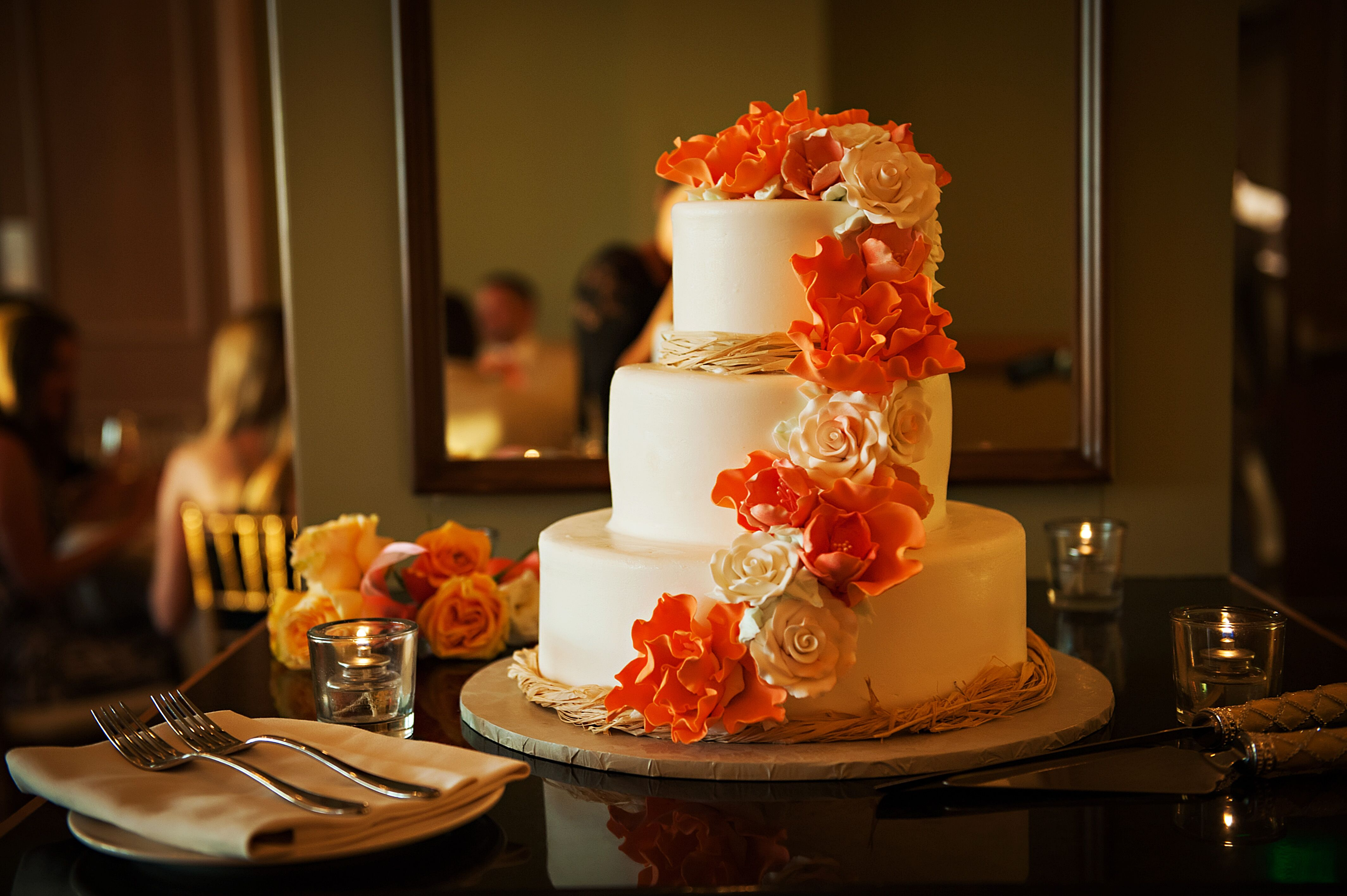 Wedding Cake With Coral And White Fondant Flowers