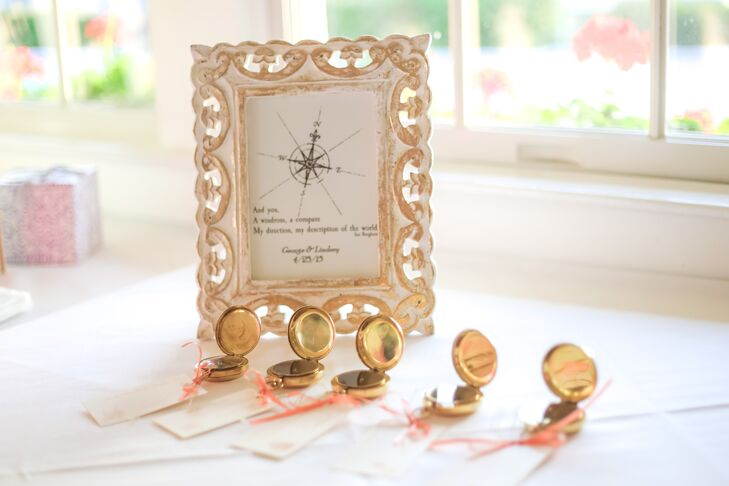 Even the favors were nautical! Guests took home these gold mini compasses as their wedding favors. They were Lindsey's favorite detail and had a sweet ivory thank you notes tied to them.