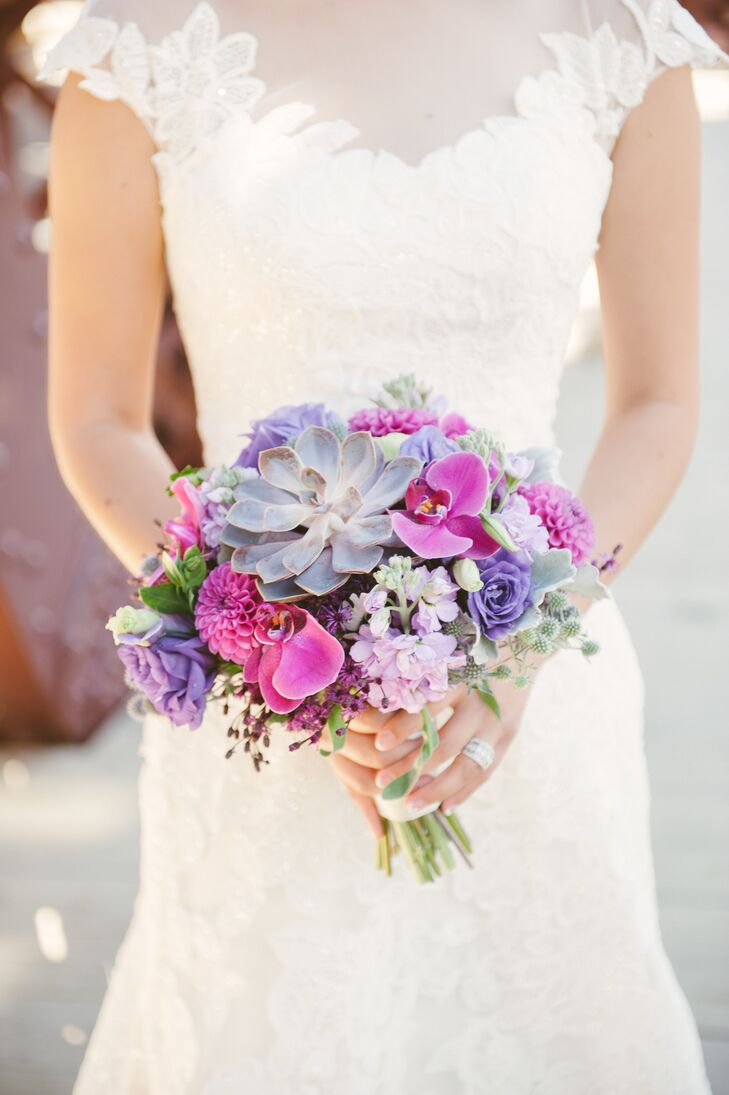 Bright Purple Orchid Dahlia And Succulent Bridal Bouquet