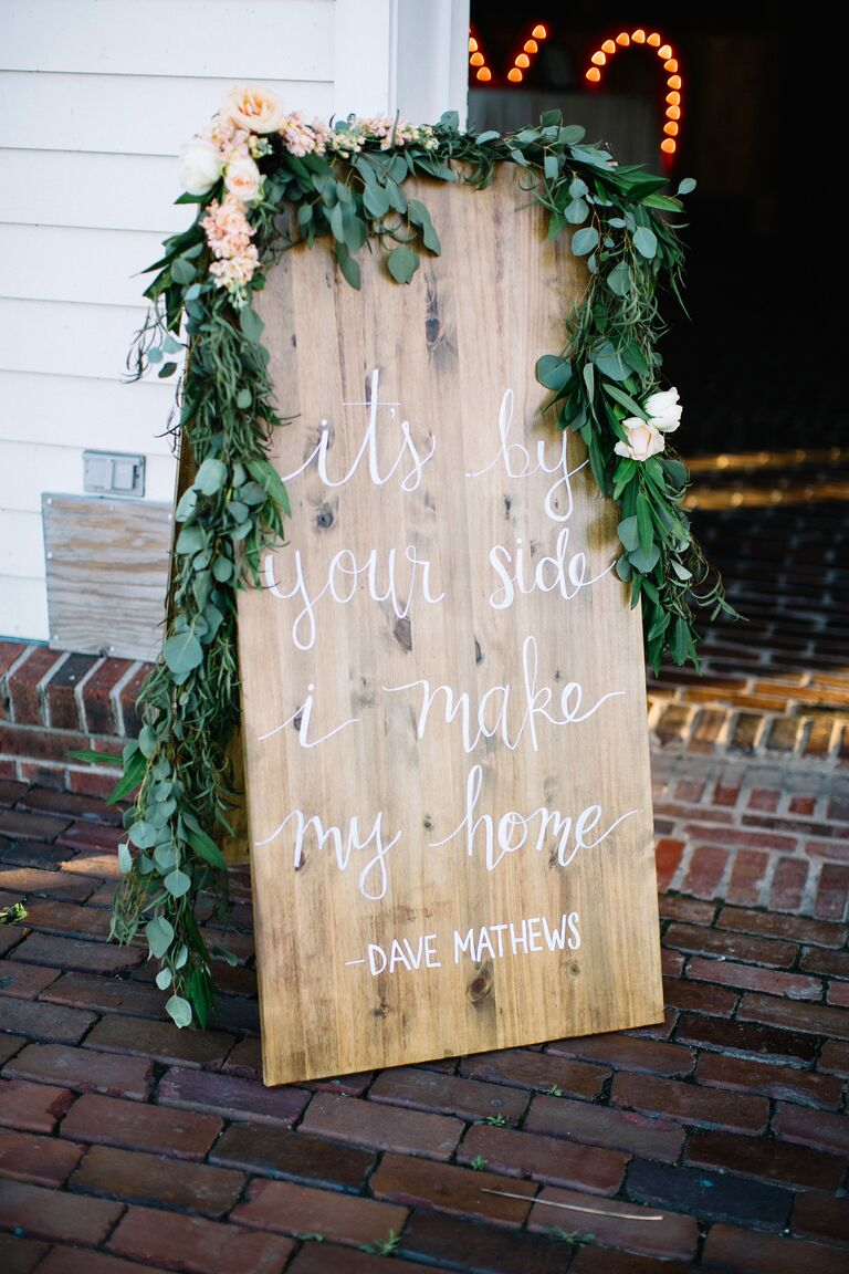 Song lyric sign for a rustic wedding