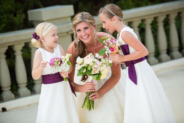 White Flower Girl Dress With Deep Purple Sash