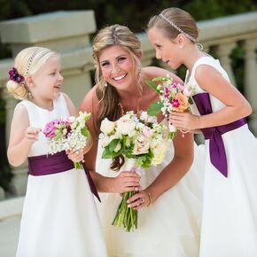 Glamorous flower girl dresses white flower girl dress with deep purple sash mightylinksfo Choice Image