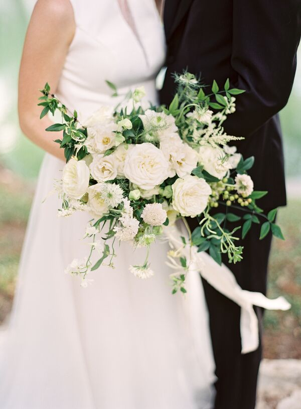 Green wedding bouquets classic white blooms and greenery mightylinksfo