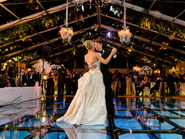 Wedding reception venue with floating dance floor