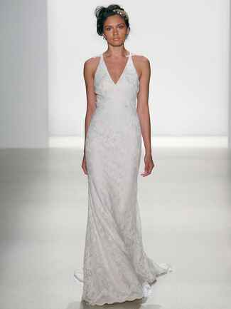 Kelly Faetanini Spring 2018 champagne chantilly lace V-neck slim gown