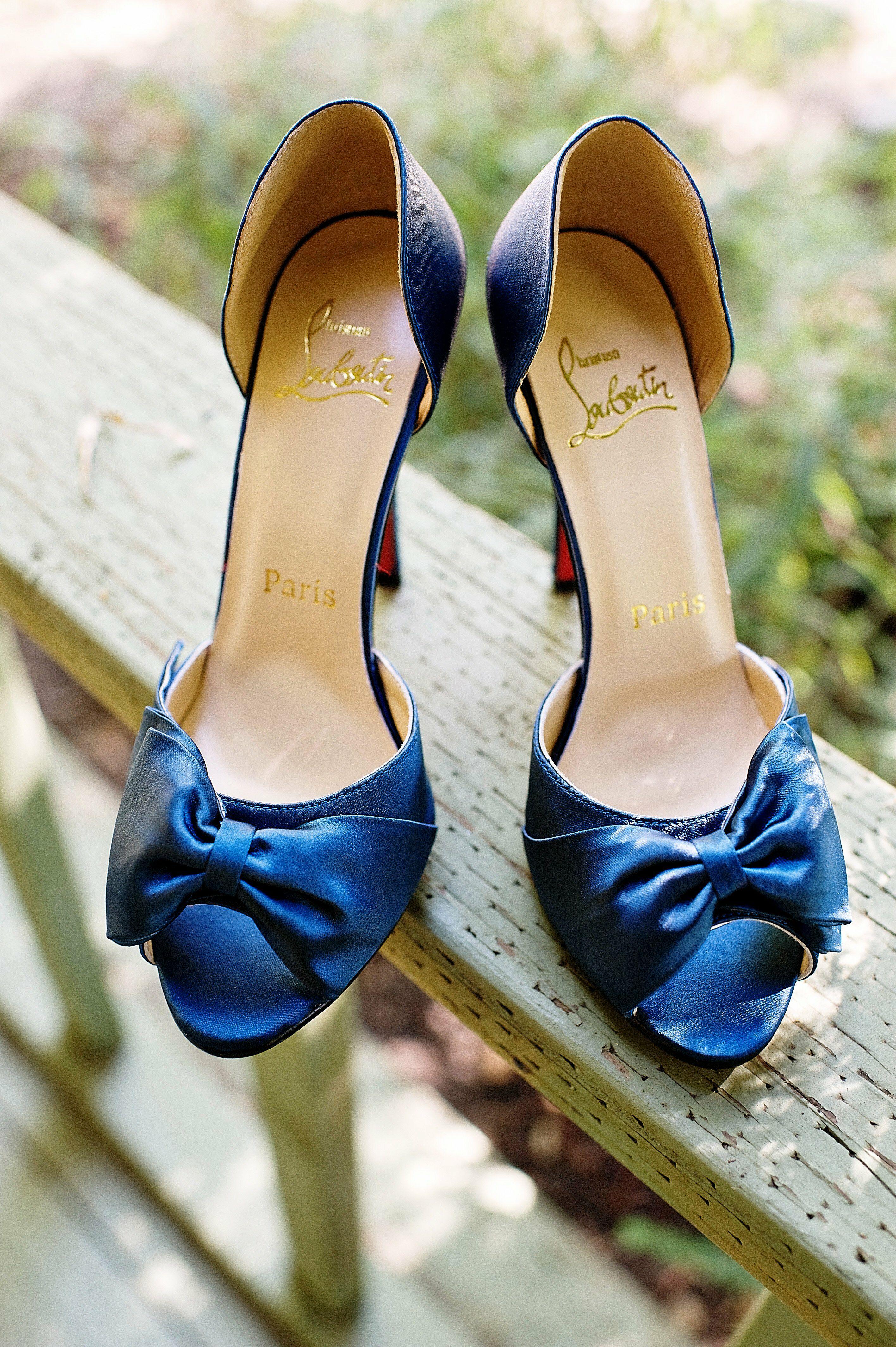 Blue Christian Louboutin Bridal Shoes