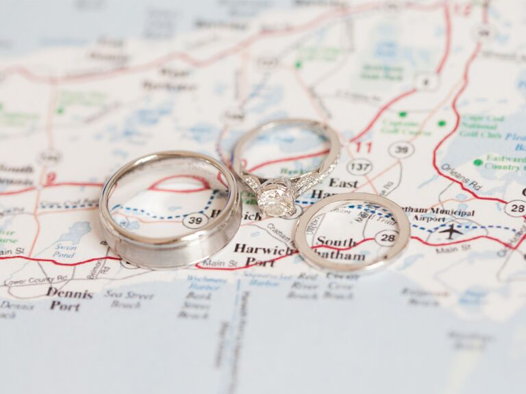 Rings on map of honeymoon road trip
