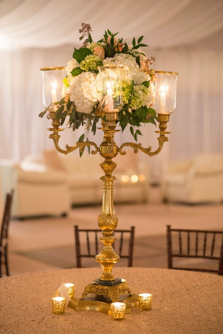 Gold candelabra centerpieces with hydrangea for Buy wedding centerpieces