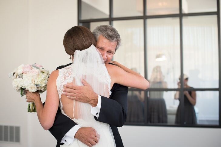 Bride Hugging Her Father Pre-Ceremony