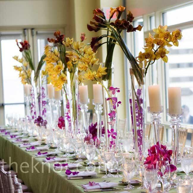 Orchid Flower Arrangements For Weddings: Tropical Centerpieces