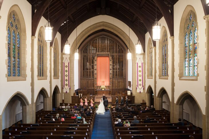 A traditional, religious ceremony was important to both Mallory and Michael. Before a night filled with dinner and dancing, the couple exchanged vows at Myers Park Methodist, where they are both members.