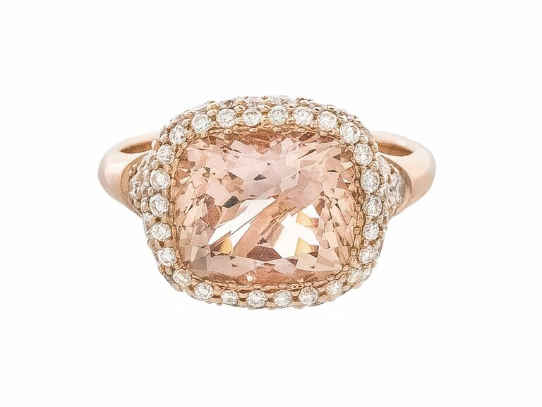 irina ferry morganite cushion ring in rose gold with pave diamonds - Non Diamond Wedding Rings