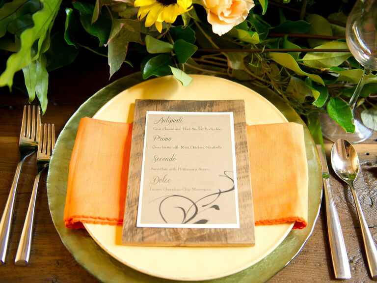 Neutral menu card with rustic background