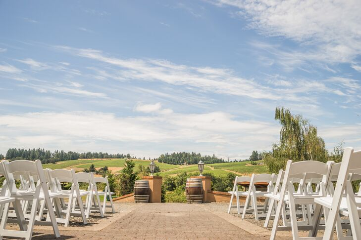 """The ceremony was just before sunset, so we got all kinds of spectacular lighting among the hills surrounding the winery,"" Gary says. ""We kept it simple and let the scenery do all the talking for us. The result was beautiful."""