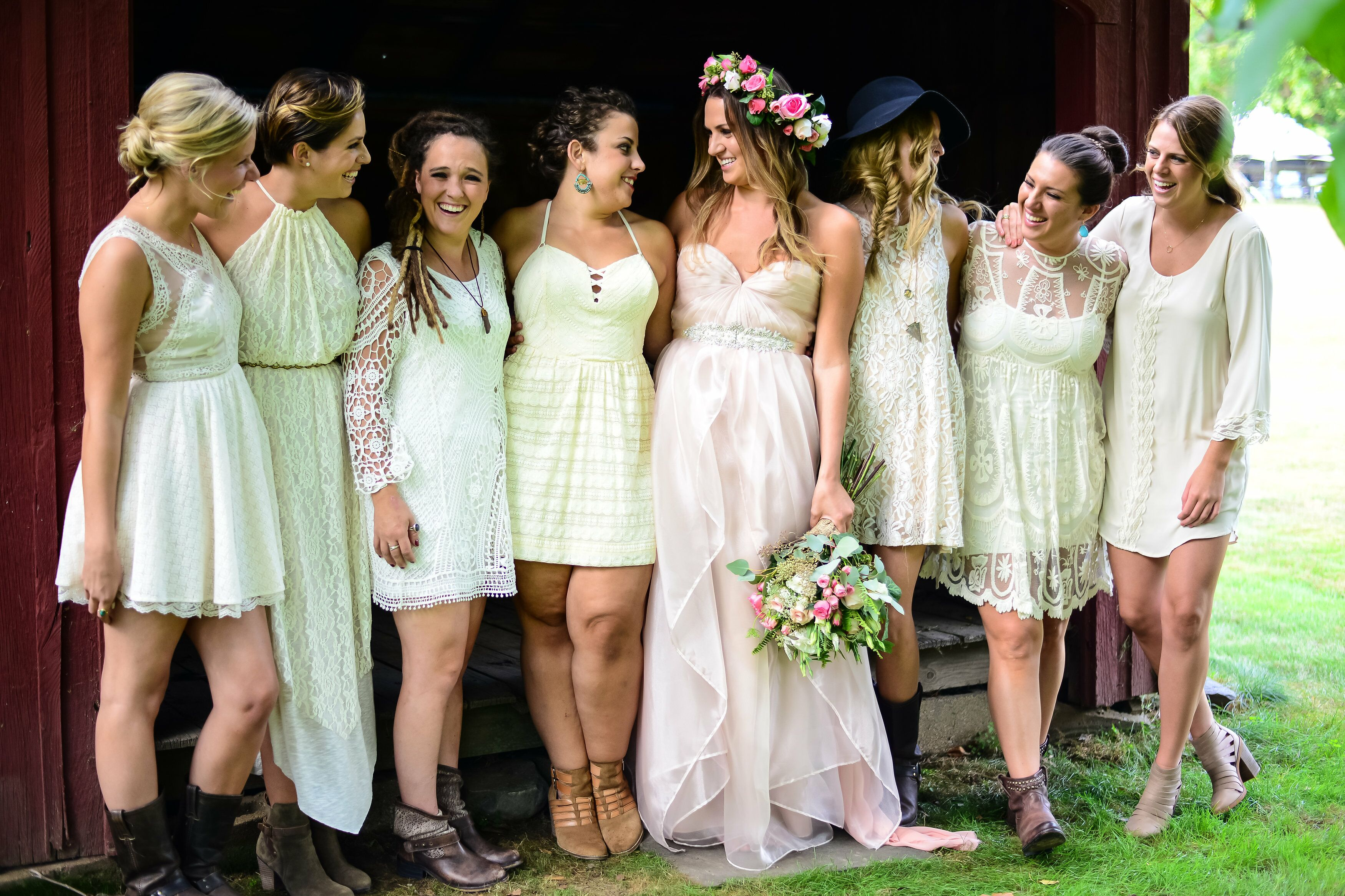 Whimsical White Bohemian Bridesmaids Dresses