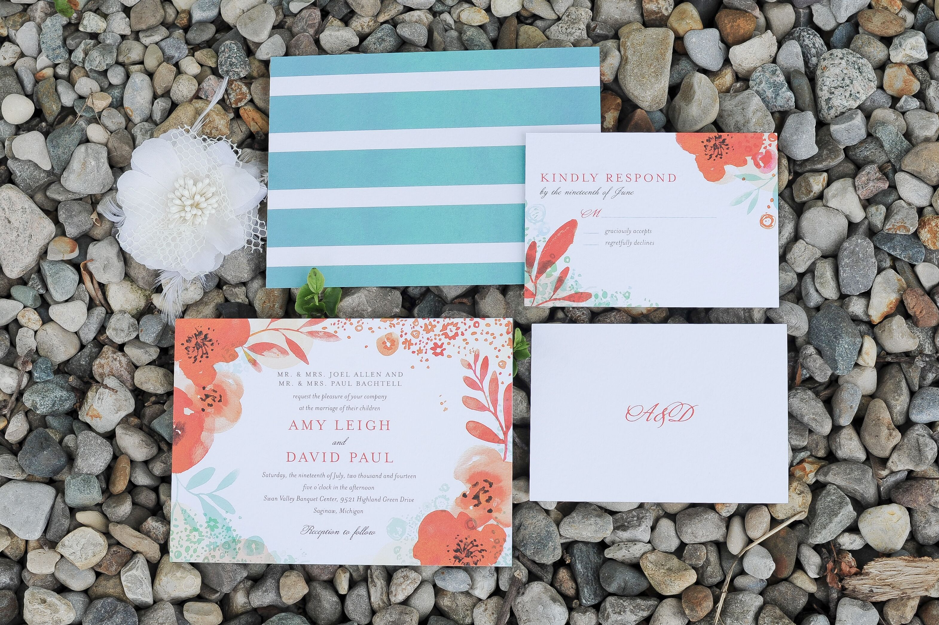 Coral And Teal Wedding Invitations: Teal And Coral Wedding Invitation Suite