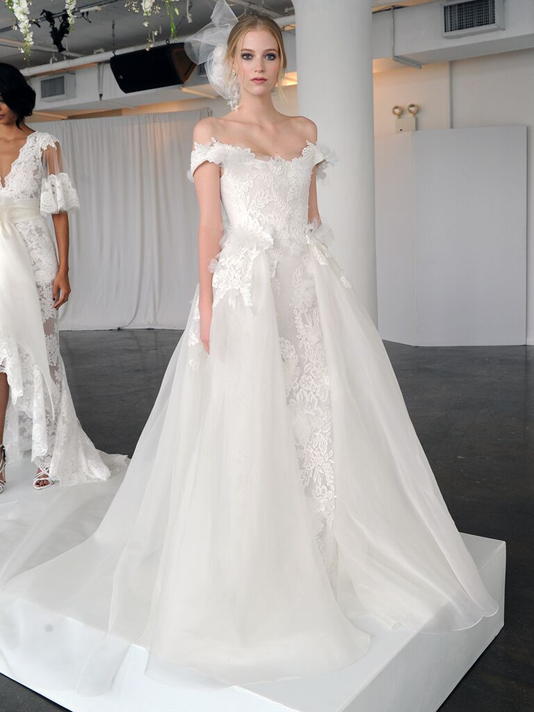 Marchesa Fall 2018 Wedding Dresses With Bows And Off The Shoulder Silhouette